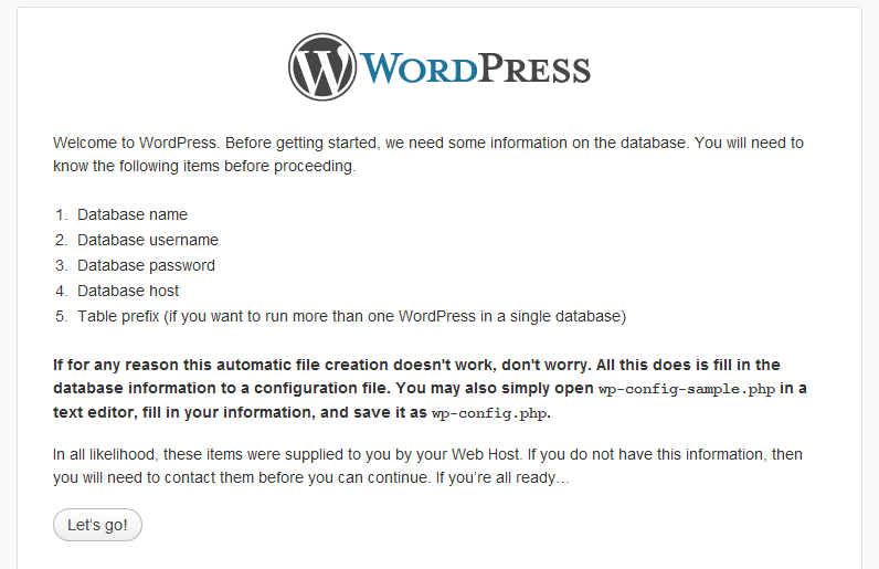 Wordpress wp Config Screen